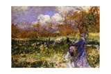 In the Meadow; Women and Children Driving Goats Giclee Print by Mose Bianchi