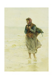 A Rising Tide, Jetsom and Flotsam': a Young Seaweed-Gatherer at the Water's Edge Giclee Print by Hector Caffieri