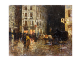A Street Scene at Night Giclee Print by Mose Bianchi