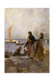 On the Quay at Chioggia; Sul Molo Di Chioggia Giclee Print by Mose Bianchi