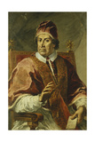 Portrait of Pope Clement Xi, Seated Half Length, Wearing Papal Robes, Holding a Letter Giclee Print by Pier Leone Ghezzi