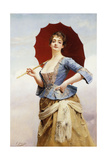 A Lady with a Parasol Giclee Print by Gustave Jacquet