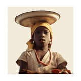 A Yoruba Girl Carrying Her Small Stock of Trade Goods on Her Head Giclée-tryk