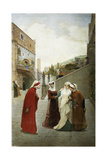 The Meeting of Dante and Beatrice, 1889 Giclee Print by Lorenzo Valles