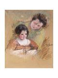 Reine Leaning over Margot's Shoulder Giclee Print by Mary Stevenson Cassatt