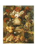 Flowers in Urns on Plinths with Fruit Giclee Print by Gaspar Pieter II Verbruggen