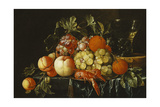 Peaches, Oranges, Grapes and Langoustines on a Pewter Plate and a Conical Roemer on a Box on a… Giclée-tryk af Cornelis De Heem
