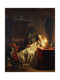 A Candlelit Interior with a Lady Seated at a Table, 1865 Giclee Print by Petrus van Schendel