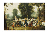 Elegant Figures Seated at a Banquet Table in a Wooded Clearing Giclee Print by Christoffel Jacobsz Van Der Lamen