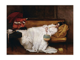 A Girl with a Japanese Fan Asleep on a Sofa Giclee Print by Alfred Emile Stevens