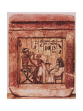 Painted Relief Depicting a Syrian Warrior Drinking Through a Tube from a Two Handled Jar Giclee Print