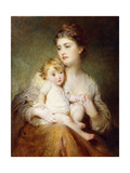 Portrait of the Duchess of St. Albans, with Her Son, 1875 Giclee Print by George Elgar Hicks