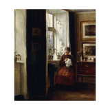 A Young Girl Sewing Giclee Print by Carl Holsoe