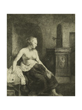 A Woman Sitting Half-Dressed Beside a Stove, 1658 Giclee Print by  Rembrandt van Rjin