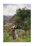 A Young Girl Standing Outside a Cottage Holding a Pail Giclee Print by Henry John Yeend King