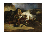 Stallions Fighting in a Stormy Landscape Giclee Print by Alfred Dedreux or de Dreux