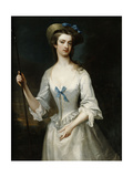 Portrait of a Lady, Possibly the Duchess of Ancaster, Three-Quarter Length, as a Shepherdess, in… Giclee Print by Charles Jervas