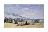 The Beach at Trouville at Bathing Time; La Plage De Trouville a L'Heure Du Bain, 1868 Giclee Print by Eugene Louis Boudin