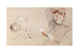 Madame Helleu Reading, with Paulette Lying Beside Her on a Sofa Giclee Print by Paul Cesar Helleu