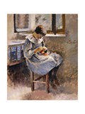 Girl Sewing, C.1886 Giclee Print by Theodore Robinson