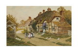 Children Playing Outside a Cottage in a Village Giclee Print by Arthur Claude Strachan