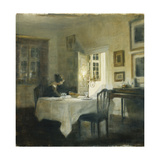 A Woman at a Table in a Dining Room Gicléetryck av Carl Holsoe