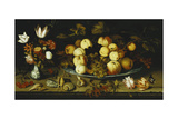 Fruit on a Dish, Flowers in a Wanli Kraak Porselein Vase, Sprigs of Cherries and Redcurrants,… Giclee Print by Balthasar van der Ast