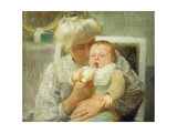 The Baby's Bottle Giclée-Druck von Robert William Vonnoh
