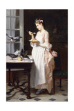 Feeding the Pigeons Giclee Print by Joseph Caraud