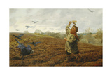 The Crow-Scarer; 'Pigeons and Crows, Take Care of Your Toes', 1884 Giclee Print by Arthur Hughes