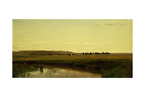 A Wagon Train on the Plains, Platte River Giclee Print by Thomas Worthington Whittredge