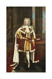 Portrait of King George II When Prince of Wales, Full Length, Wearing State Robes and the Collar… Giclee Print by Sir Godfrey Kneller