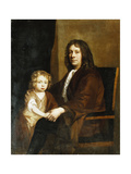 Portrait of Thomas Rowe and His Son, Seated Three-Quarter Length, the Former in a Brown Gown, the… Giclee Print by John Riley