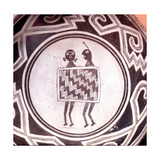 Pottery Bowl with Schematic Human Figures and Black-On-White Geometric Design Giclee Print