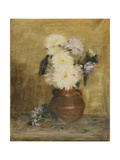 Asters in a Stoneware Jug on a Table Giclee Print by Maria Wiik