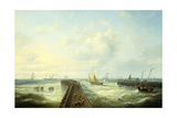Fishing Boats Off a Jetty at Ostend Giclee Print by Louis Verboeckhoven