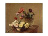Poppies in a Crystal Vase and Roses in a Basket; Pavots Dans Un Vase De Cristal; Panier De Roses,… Giclee Print by Ignace Henri Jean Fantin-Latour