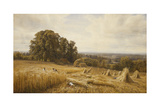 An Extensive Landscape with Harvesters, 1873 Giclee Print by Edmund George Warren