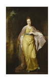 Portrait of Mrs. Ellen Morewood, Standing Full Length, in a Yellow Dress, Blue Sash and Mauve… Giclee Print by George Romney