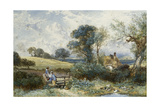 By the Duck Pond Giclee Print by Myles Birket Foster
