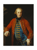Portrait of a Cavalry Officer in Walking-Out Dress, Three-Quarter Length, Leaning on a Pedestal… Giclee Print by Pompeo Batoni