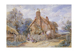 Children by a Thatched Cottage at Chiddingfold Giclee Print by Myles Birket Foster