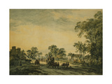 A Coach and Figures on an Open Country Road Giclee Print by Julius Caesar Ibbetson