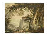 Figures on a Lane before Rochester Castle Giclee Print by Paul Sandby