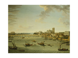 The Thames from the Terrace of Somerset House Looking Towards Westminster, 1750 Giclée-tryk af Antonio Joli