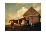 Eclipse', a Dark Chestnut Racehorse Held by a Groom, with a Jockey, Possibly Jack Oakley, by the… Giclee Print by George Stubbs