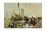 A Busy Quayside in Brittany with Fishing Boats Returning Giclee Print by Hector Caffieri