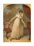 Portrait of a Lady, Standing Full Length in a White Dress by a Piano, 1801 Giclee Print by Adam Buck