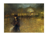 A Woman on a Paris Street at Evening Giclee Print by Lionello Balestrieri