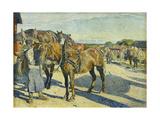 At the Stableyard; Pa Stallbacken Giclee Print by Carl Wilhelm Wilhelmson